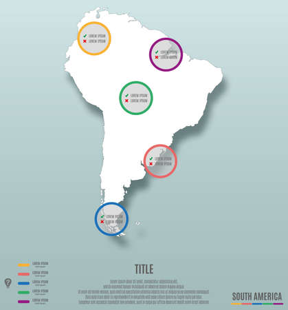 South America Continent Map template Infographics Vector