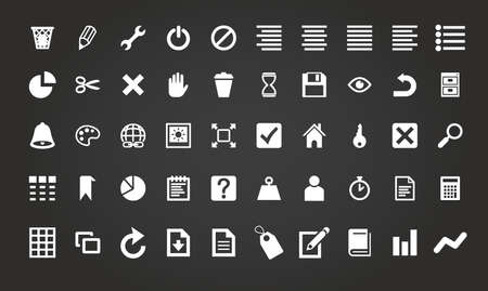Simple business and office icon set vector illustration Ilustração