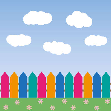 cartoon background with color fence and clouds vector illustration Иллюстрация
