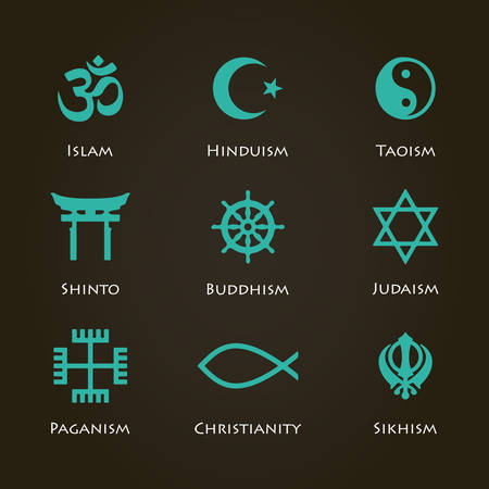 confucianism: World religion symbols cyan color set with christian, Jewish, Islam etc