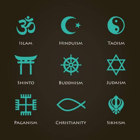 World Religion Symbols Cyan Color Set With Christian Jewish