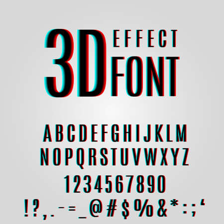 stereoscopic: font stereoscopic 3d effect in vector format