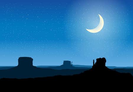 Arizona roches vallée de la nuit illustration vectorielle Banque d'images - 45135500