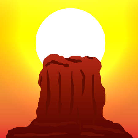 rocky: Sunset in the Rocky Mountain Vector illustration. Stock Illustratie