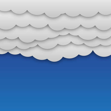 web graphics: White paper clouds at blue background vector illustration