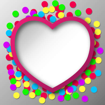 shred: Abstract Heart with Confetti Snippets  Vector Illustration