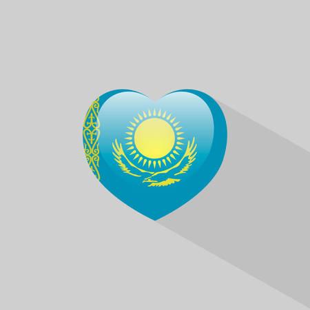 kazakhstan: Love Kazakhstan symbol Heart flag icon. Vector illustration. Illustration