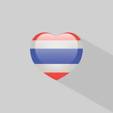 thailand symbol: Love Thailand symbol Heart flag icon. Vector illustration.
