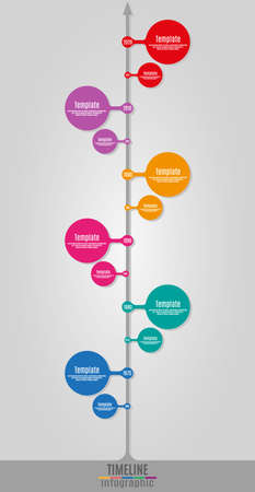 chronological: Timeline Infographics vertical vector design template for business financial reports, website, infographic statistics with icons. Editable. Illustration