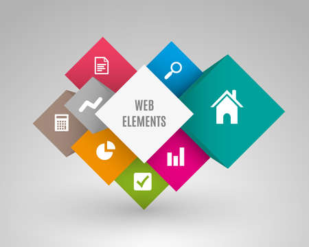elements: cuadro cubo del vector por conceptos de negocio con los iconos se pueden utilizar para obtener información gráfica informe comercial o plan de educación moderna plantilla de plantilla de diagrama del sistema de negocios folleto