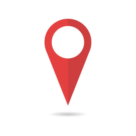 Red geo pin as logo with copy space on white. Geolocation and navigation. Icon for mobile and electronic devices, web design, infographic elements, presentation templates. Иллюстрация