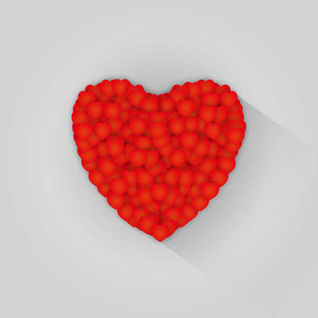 esp cards: Valentines composition small red hearts creates one big, idea for cards, flyers, inviting. valentines day, wedding. vector illustration