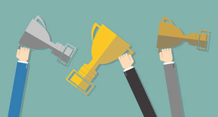 Buisness mans Hands holding winners trophy award gold, silver, bronze cups at green background in flat design. Concept for web design, infographic, promotion. Vector illustration