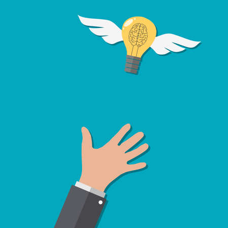 Catching The Flying Idea. Buisness man hand, light bulb with helix-brain with wings at blue backgound in flat design. Concept for web design, infographic. Vector Illustration Illustration