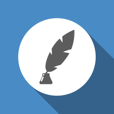 poet: Vector feather and ink bottle icon in grey color at blue backgound in flat design. Concept for web design, button for mobile devices. Illustration