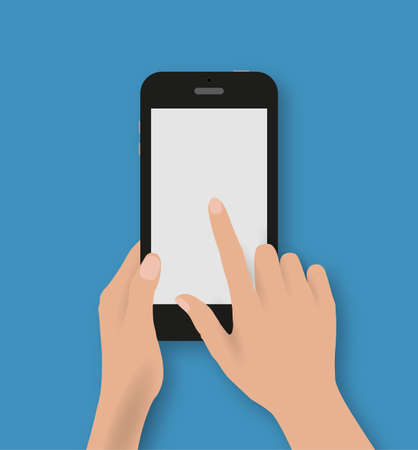 Hand touching screen of black phone at blue backgound with shadows. Vector illustration in flat design. Concept for web design, promotion templates, infographics. vector illustration
