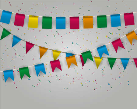 pennant bunting: Color pennant bunting collection triangular and square red, yellow, blue, green, orange colors at ligh backgound with color confetti around, vector iilustration. for web design. greeting card Illustration