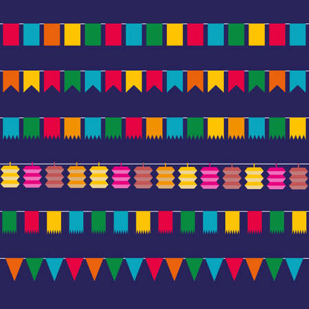 pennant bunting: Color flat pennant bunting collection triangular and square in red, yellow, blue, green, orange colors at dark backgound in flat design. vector illustration template for web design. greeting card