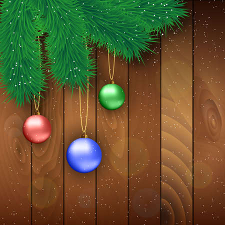 desember: Christmas card with red , blue and green glass balls,  fur branches at wooden background, Vector illustration, template for greeting card.