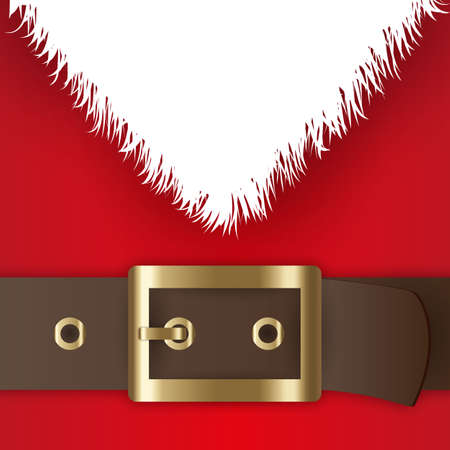Red santa claus suit, leather belt with gold buckle, white beard, concept for greeting or postal card, vector illustration Ilustração