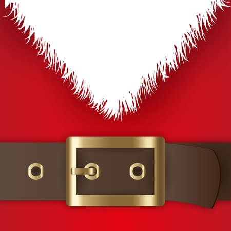 Rood kostuum van de Kerstman, lederen riem met gouden gesp, witte baard, concept voor groet of post kaart, vector illustratie