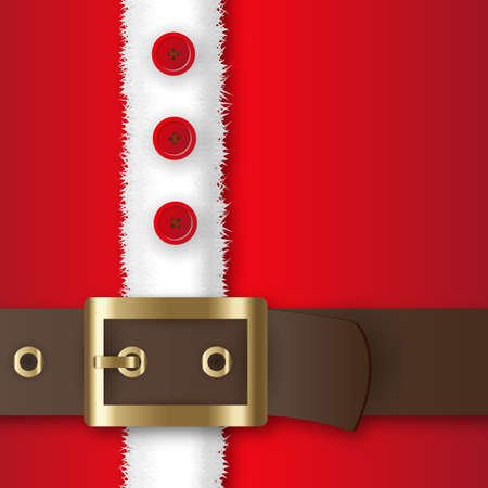 Red santa claus suit, leather belt with gold buckle, white fur with buttons, concept for greeting or postal card, vector illustration