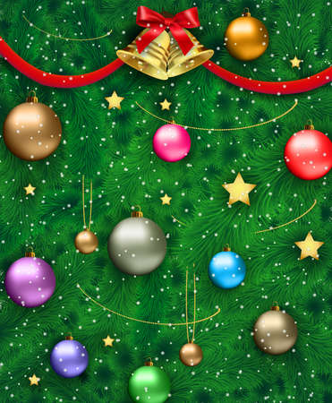golden ball: Datiled Christmas tree with red silver gold blue and green glass balls, chains, stars, bow with bell at ribbon, snowflakes. template for greeting or postal card, vector illustration Illustration