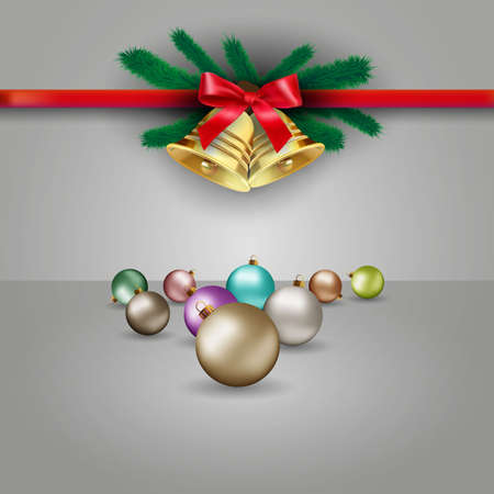 postal card: Christmas grey background with red silver gold blue and green glass balls, bow with bell and fur branches at red ribbon, template for greeting or postal card, vector illustration Illustration