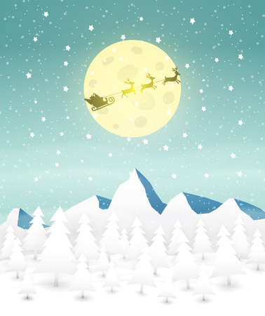 fly: Santa Sleigh at mountains and snow forest, moon background, template for greeting or postal card, vector illustration