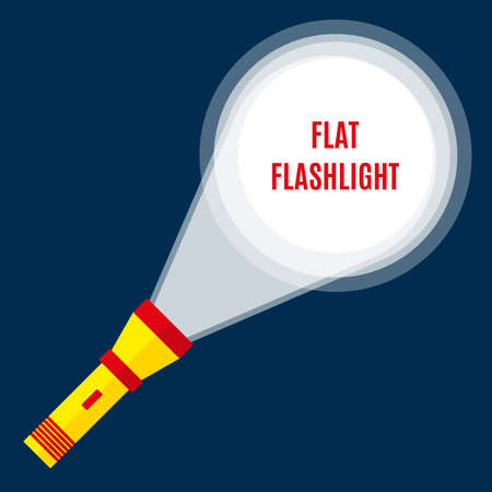 illuminating: Yellow red Flashlight at dark bkackground in darkness illuminating ground. Search, investigation and criminality concept. Flat style. vector illustration