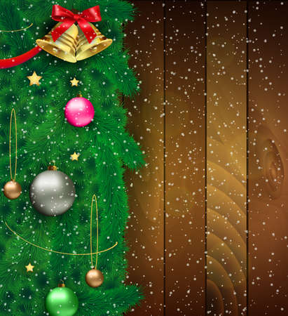 postal card: Part of christmas tree with red silver gold and green glass balls, chains, stars, bow with bell at ribbon, snowflakes. at wooden background. template for greeting or postal card, vector illustration