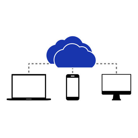 touch phone: Flat cloud computing background. Including laptop touch phone and desktop pc.  Data storage network technology. Multimedia content and web sites hosting.