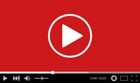 medios de comunicación social: diseño de la plantilla plana reproductor de vídeo para la web y aplicaciones móviles. ilustración vectorial