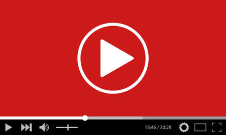 Video player flat design template for web and mobile apps. vector illustration