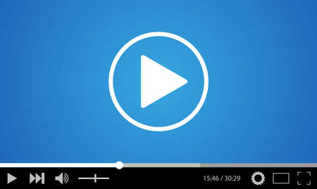 website window: Video player flat design template for web and mobile apps. vector illustration