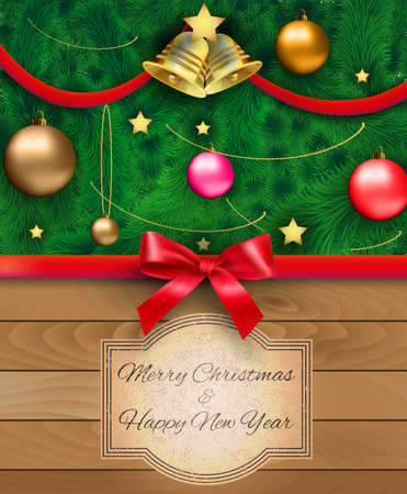 postal card: Part of christmas tree with red silver gold glass balls, chains, stars, bow with bell at ribbon, retro style frame with text at wooden background. template for greeting postal card vector illustration
