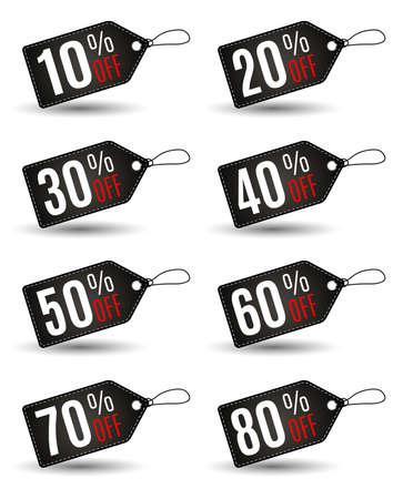 Rechthoekige Black Friday sales tag set met verschillende percentage in zwarte kleur wih witte steek op een witte achtergrond. Idee voor seizoensgebonden verkoop promotie. vector illustratie