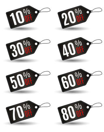 etiquetas de ropa: Rectangular etiqueta de ventas del Viernes Negro conjunto con diversas porcentaje en color negro facturan con puntada blanca en el fondo blanco. Idea para la promoción de la venta de temporada. ilustración vectorial