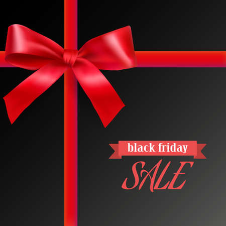 Black friday background with red bow and ribbons and place for text. retail, discount, special offer. vector illustration