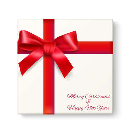 postal card: Realistic White gift box with red bow and ribons with shadow on white background, top view. template for greeting  and postal card. vector illustration Illustration