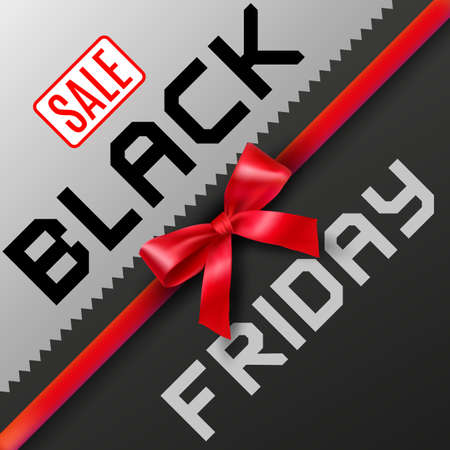 Black Friday background in black and grey colors with ribbon and bow in center and sale tag. vector illustration. idea for promotion Illustration