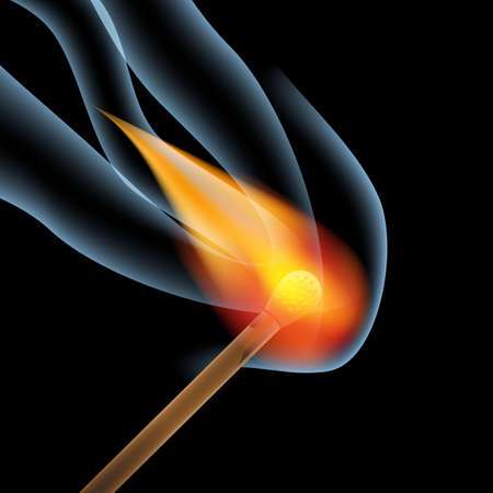 arsonist: burning wooden match with flame and smoke on a black background, vector illustration Illustration