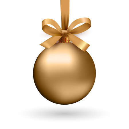 Gold Christmas ball with ribbon and a bow, isolated on white background. Vector illustration. Vettoriali