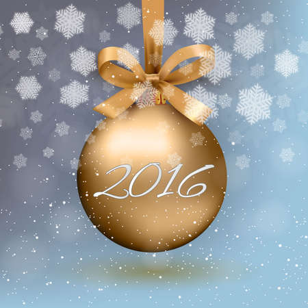 ribon: Gold christmas ball with ribon and bow and 2016 text on light blue background with snow and snowflakes. template for greeting or postal card new year, vector illustration