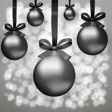 ribon: Five Black christmas balls with ribon and bow at background with light sparks. black friday. Idea for seasonal sale promotion. vector illustration Illustration