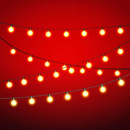 Warm yellow Lights bulb at black strings on red background. template for greeting or postal card, vector illustration Ilustração