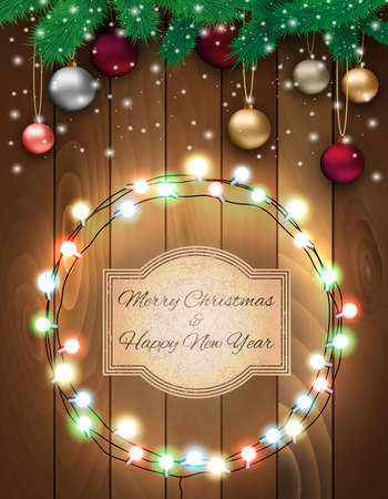 desember: Christmas card with colorful glass balls, snowflakes, fur branches at wooden background with glowing lights and sign in grunge style, Vector illustration, template for greeting card.