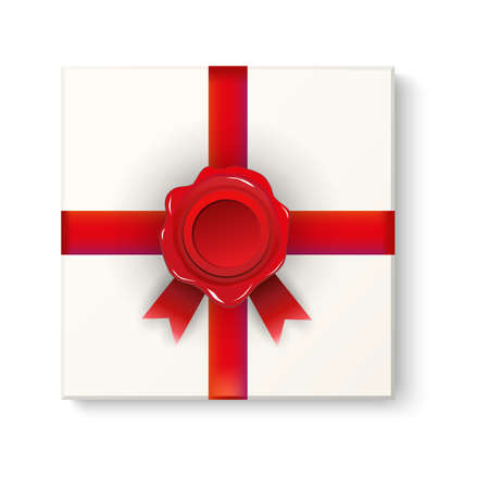 present box: white present box sealed with red ribbon and wax red seal. top view. for special events, greetings card. vector illustration