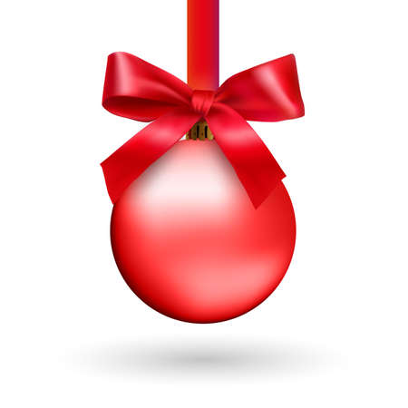 Red Christmas ball with ribbon and a bow, isolated on white background. Vector illustration. 向量圖像