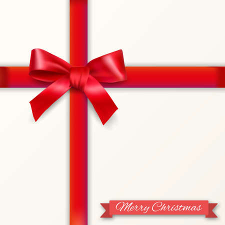 White background with red bow and ribons with shadow and christmas text. template for greeting  and postal card. vector illustration